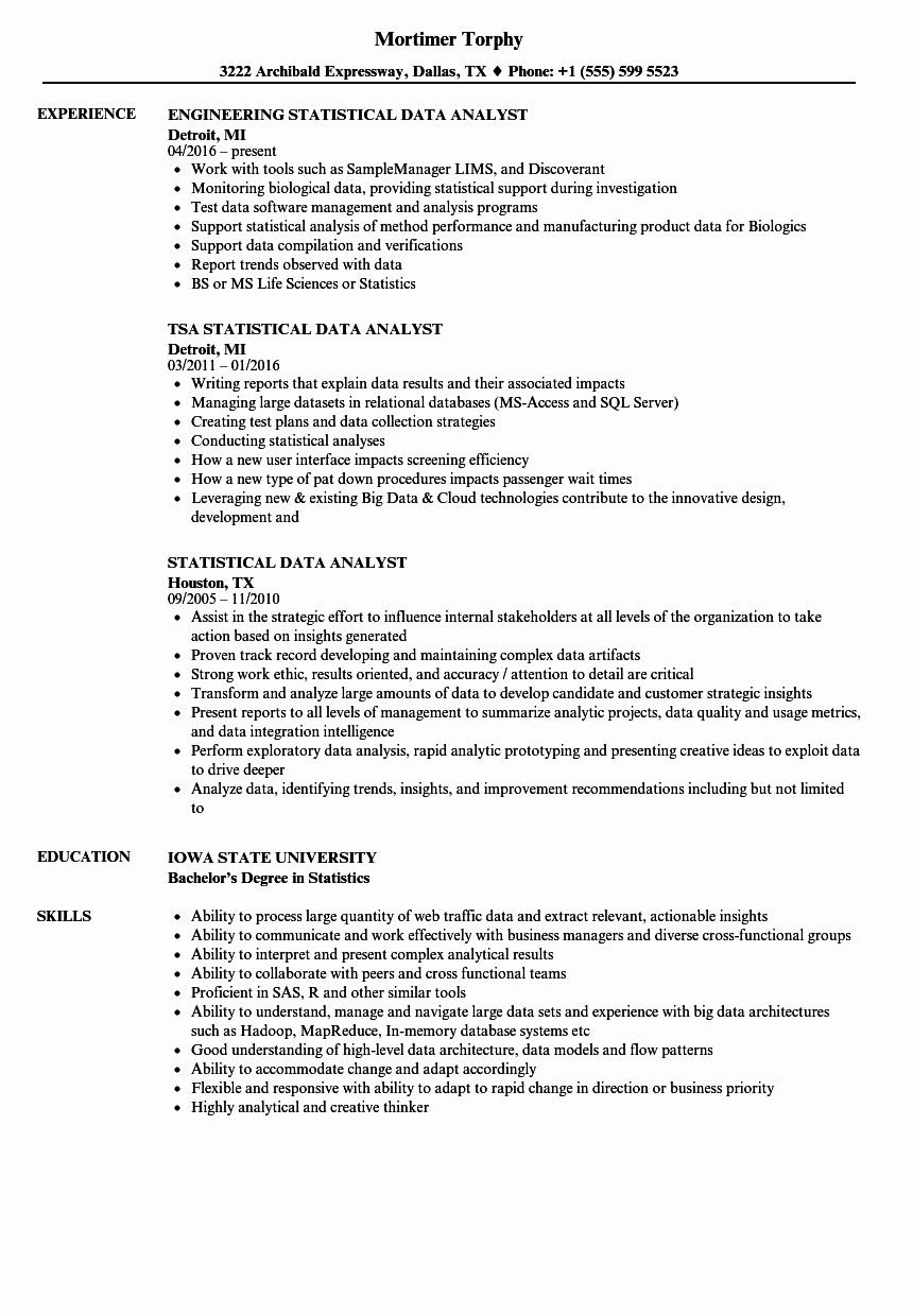 business data analyst resume fresh statistical samples skills manager job duties for Resume Statistical Skills Resume