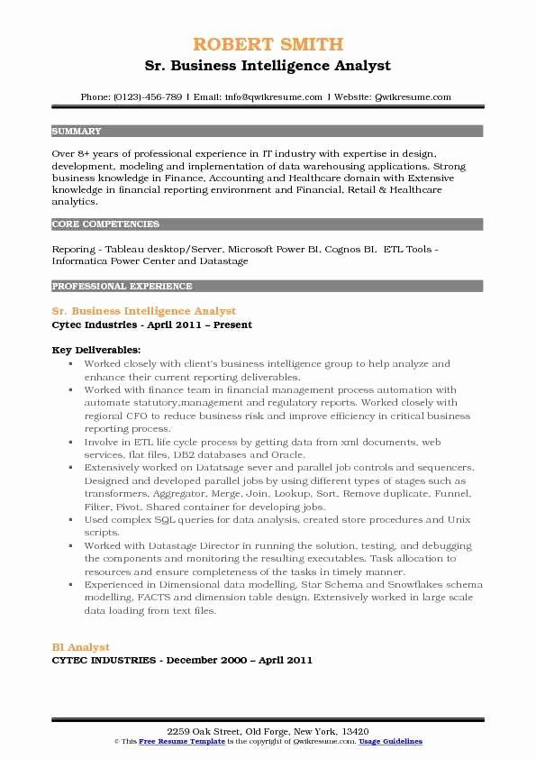 business intelligence developer resume best of summary tableau report analyst an example Resume Business Intelligence Resume