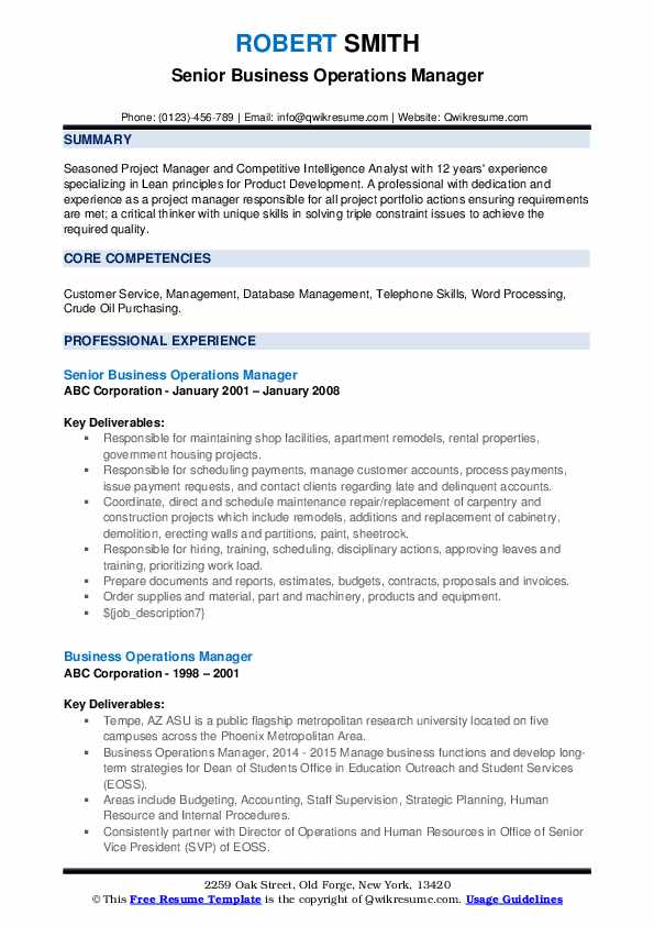 business operations manager resume samples qwikresume senior template pdf medical doctor Resume Senior Operations Manager Resume Template