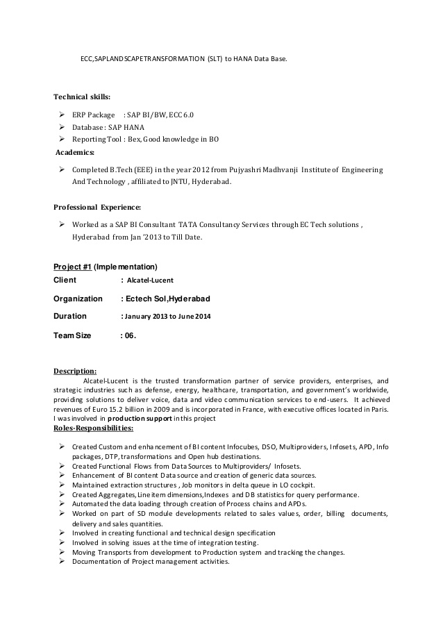 bw hana resume sap for years experience cover letter examples security officer skills Resume Sap Hana Resume For 3 Years Experience