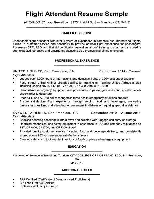 by flight attendant resume format no experience career change objective skills for Resume Flight Attendant Resume No Experience