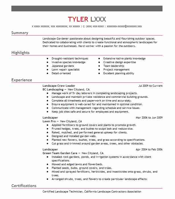 by landscaping resume samples format landscaper sample client facing experience wording Resume Landscaper Resume Sample