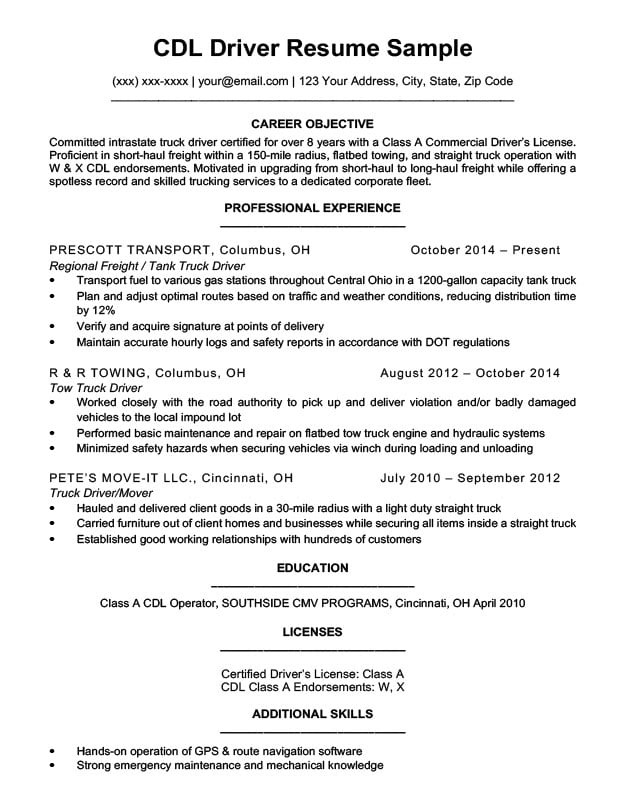 by truck driver resume format template for cdl mechanical helper basketball coach should Resume Resume Template For Cdl Truck Driver