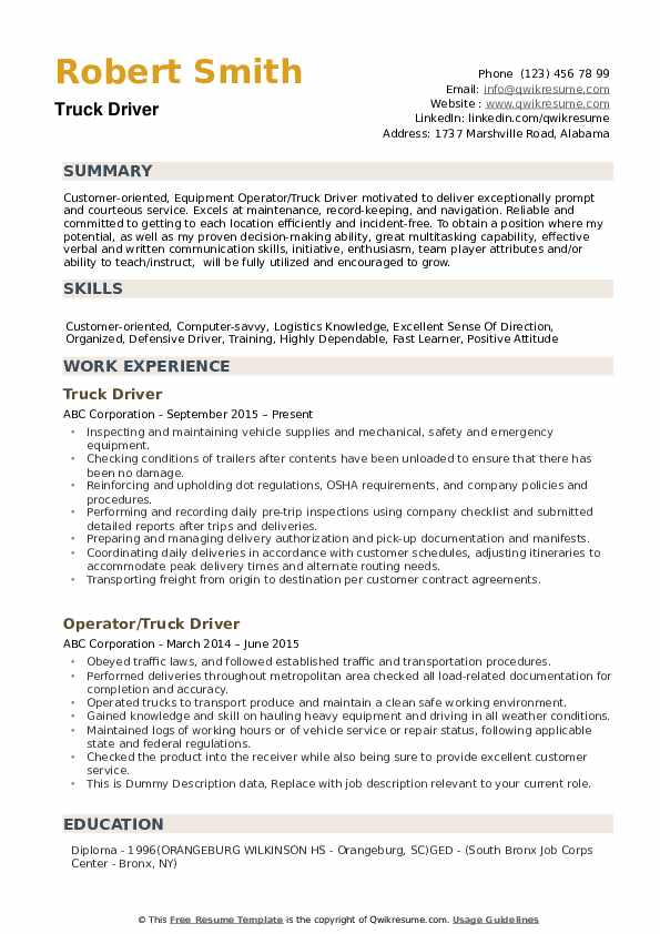 by truck driver resume samples format sample create infographic nursing examples Resume Truck Driver Resume Sample