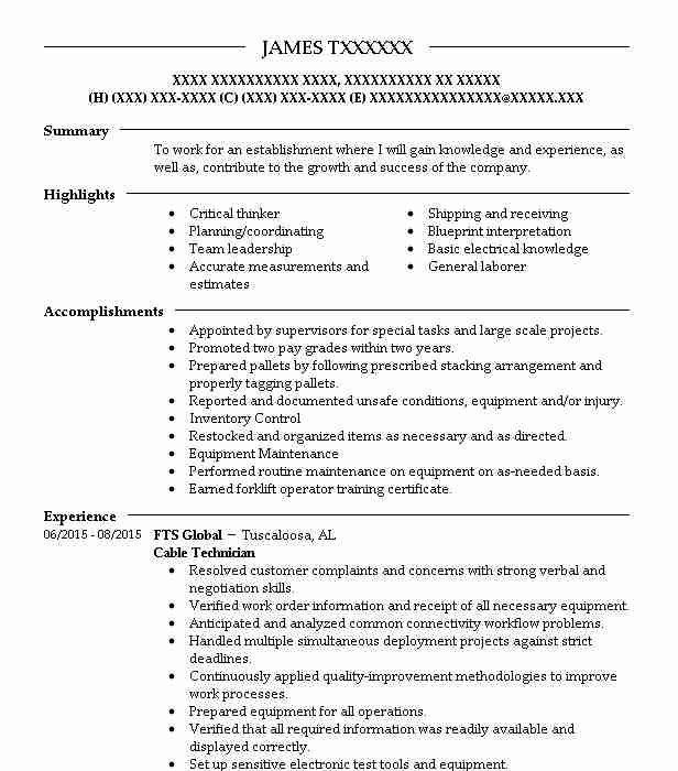cable technician resume example livecareer template vice president army skills inventory Resume Inventory Auditor Resume