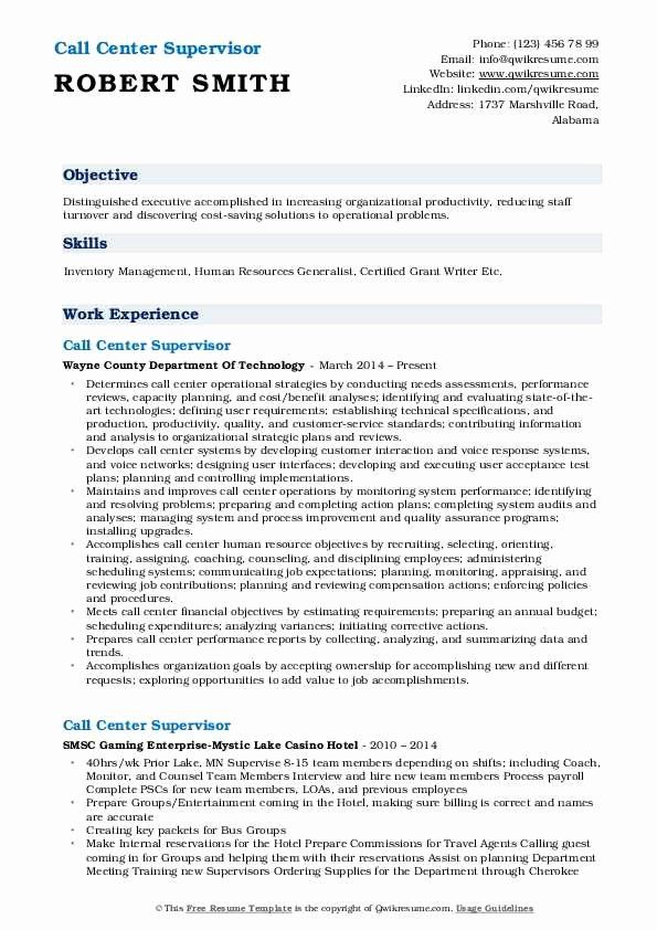 call center manager resume beautiful supervisor samples job business intelligence college Resume Call Center Supervisor Resume