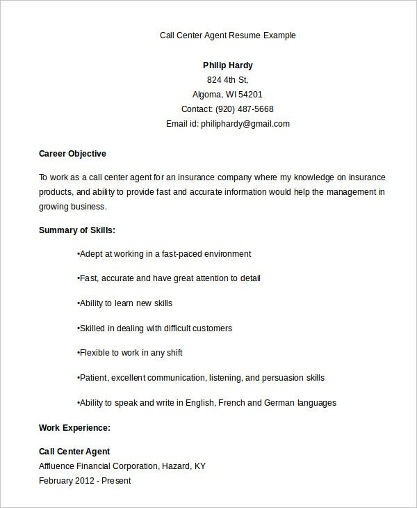 call center resume example free word pdf documents premium templates experience agent Resume Call Center Experience Resume
