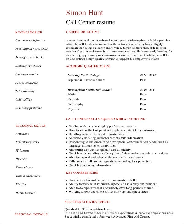 call center resume example free word pdf documents premium templates for jobs student Resume Resume Templates For Call Center Jobs