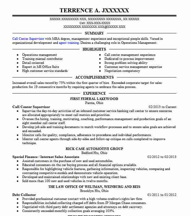 call center supervisor resume example retail resumes livecareer college engineering Resume Call Center Supervisor Resume