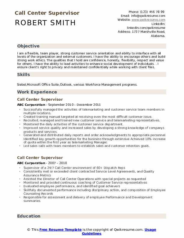 call center supervisor resume samples qwikresume templates for jobs pdf exceptional rep Resume Resume Templates For Call Center Jobs
