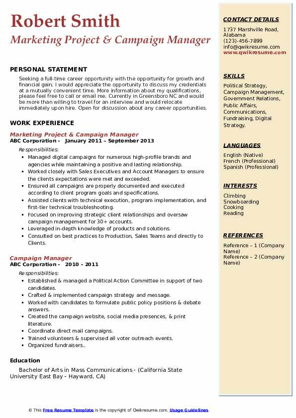 campaign manager resume samples qwikresume political candidate sample pdf chapter best Resume Political Resume Sample