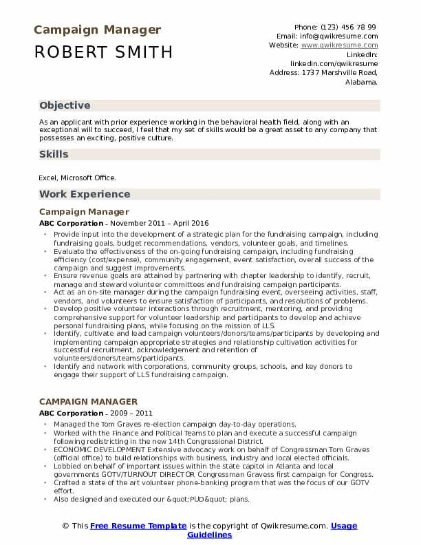 campaign manager resume samples qwikresume political sample pdf personal profile examples Resume Political Resume Sample