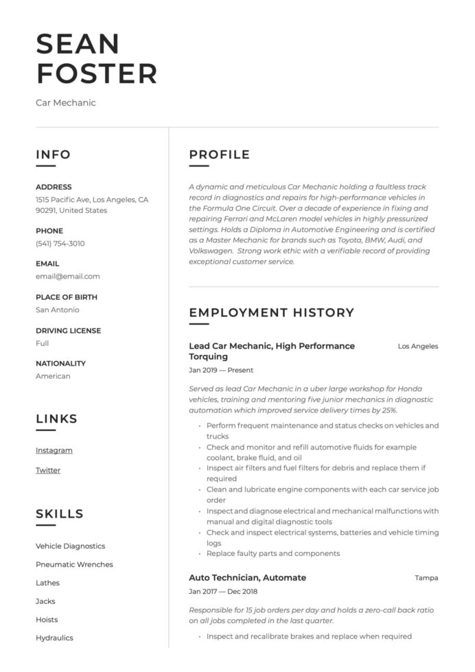 car mechanic resume guide examples auto skills scaled create own template director of cna Resume Automotive Skills For Resume