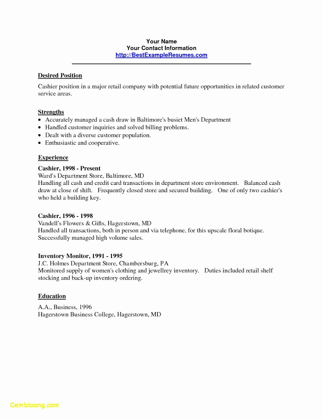 cashier resume sample no experience best examples for with combination word template Resume Resume For Cashier With No Experience