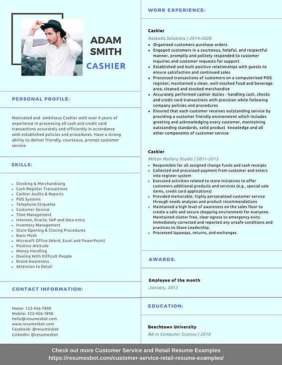 cashier resume samples and tips pdf resumes bot customer service example tally experience Resume Cashier Customer Service Resume