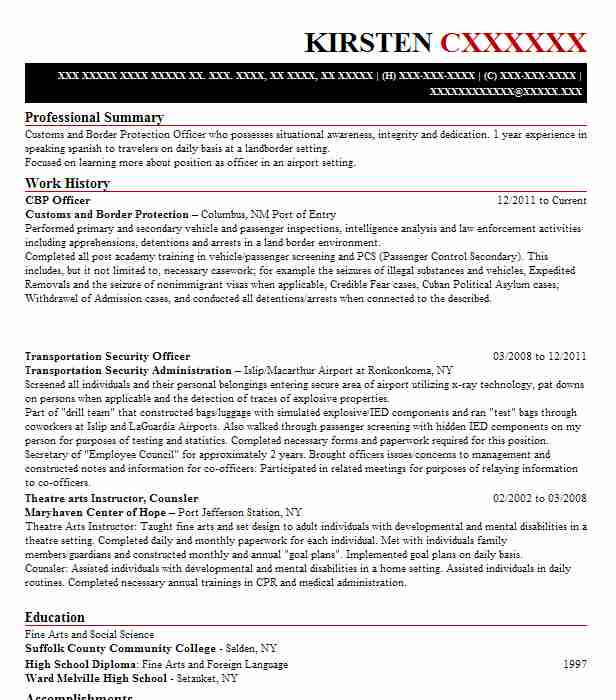 cbp officer resume example resumes livecareer us customs examples first job layout free Resume Us Customs Resume Examples
