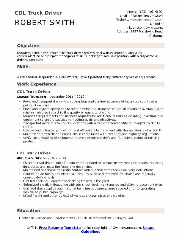 cdl truck driver resume samples qwikresume template for pdf fashion retail sample plural Resume Resume Template For Cdl Truck Driver