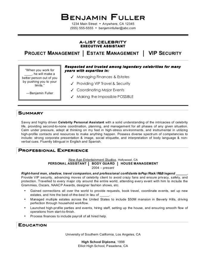 celebrity personal assistant resume by mia job description celebritypersonalassistant Resume Personal Assistant Resume Examples