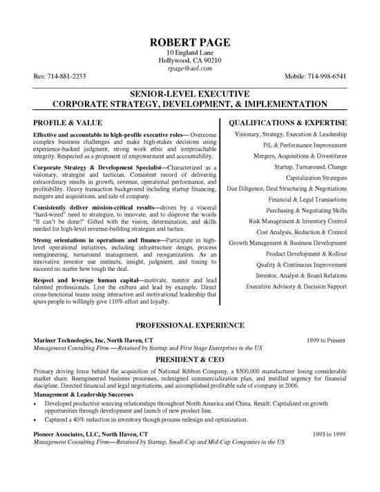 ceo resume examples job samples high level format free chic templates personal banker Resume High Level Resume Format