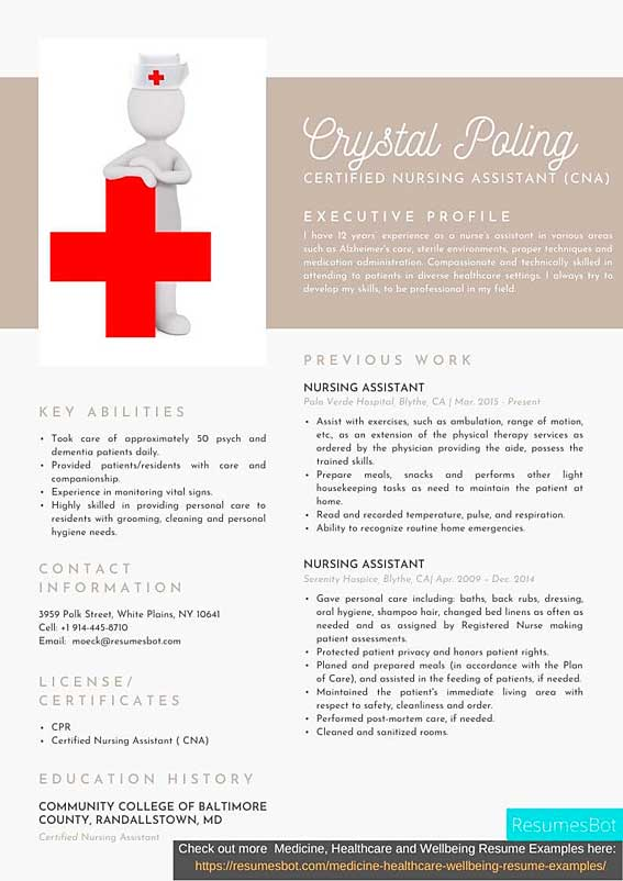 certified nursing assistant cna resume samples and tips pdf resumes bot example creative Resume Certified Nursing Assistant Resume Example