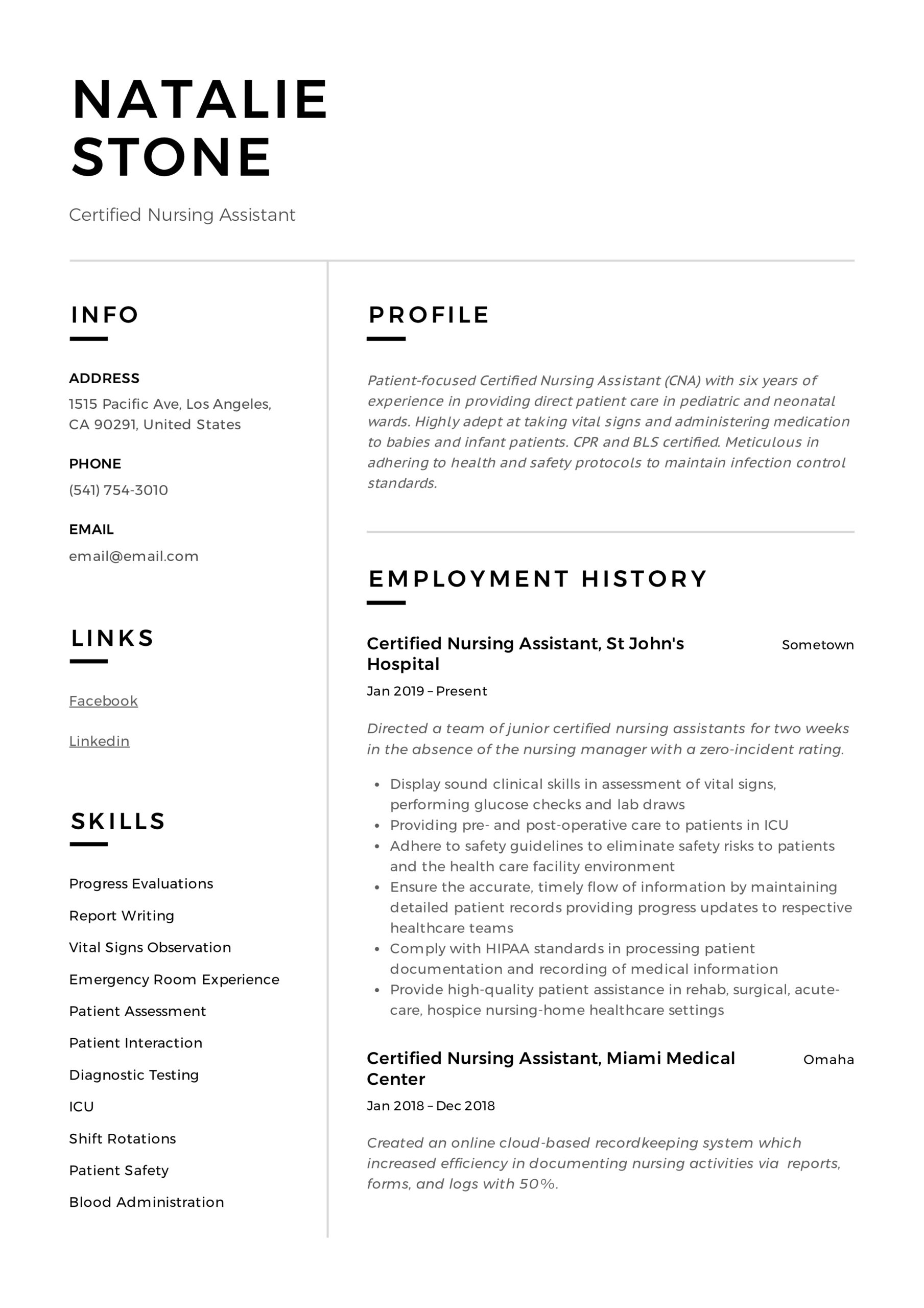certified nursing assistant resume writing guide templates sample format for cts company Resume Certified Nursing Assistant Resume Sample