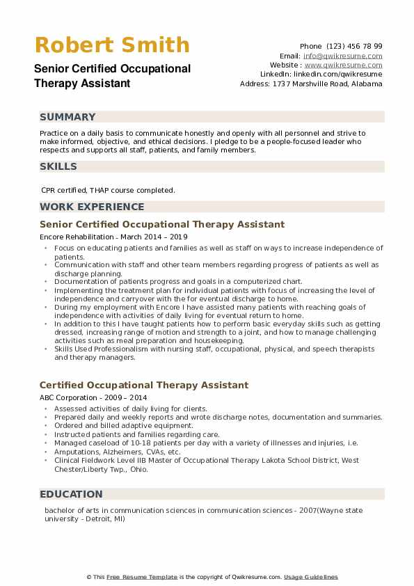 certified occupational therapy assistant resume samples qwikresume entry level pdf justin Resume Entry Level Occupational Therapy Resume