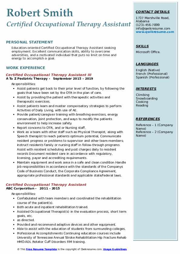 certified occupational therapy assistant resume samples qwikresume entry level pdf safety Resume Entry Level Occupational Therapy Resume