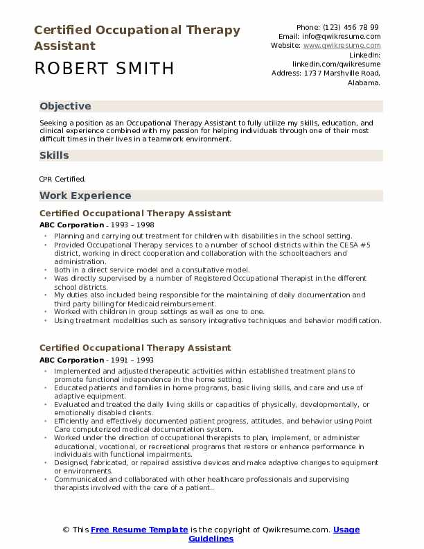certified occupational therapy assistant resume samples qwikresume entry level pdf social Resume Entry Level Occupational Therapy Resume