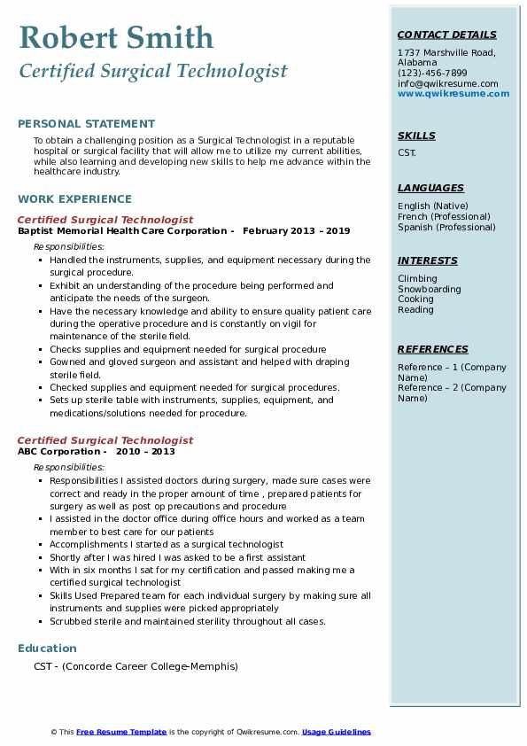 certified surgical technologist resume samples qwikresume free templates pdf achievements Resume Free Surgical Technologist Resume Templates