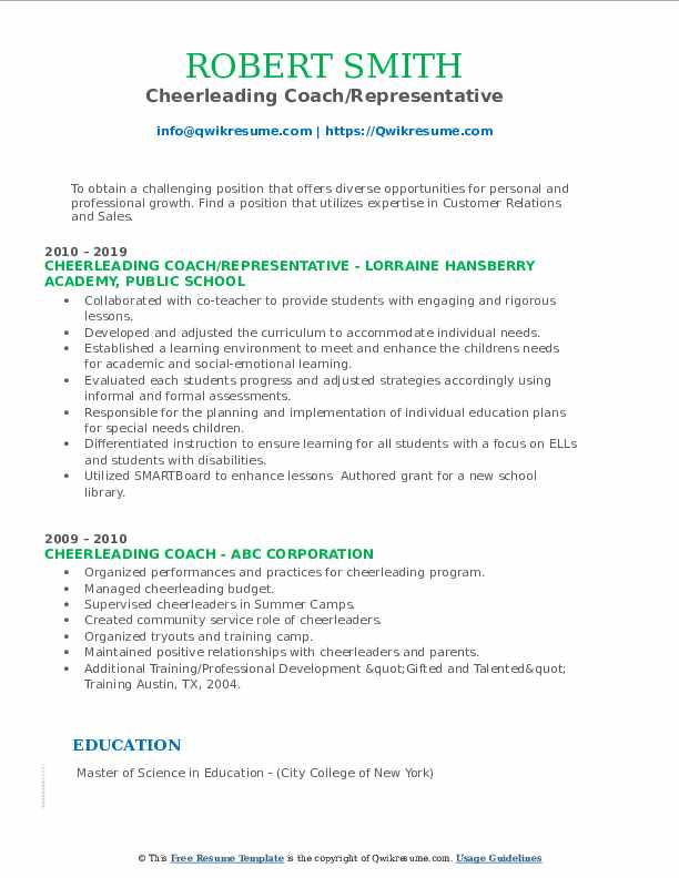 cheerleading coach resume samples qwikresume pdf different types of styles registered Resume Cheerleading Coach Resume