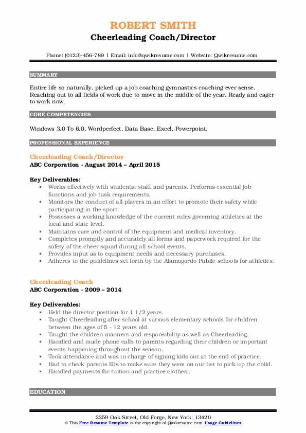 cheerleading coach resume samples qwikresume pdf software test lead sample worded review Resume Cheerleading Coach Resume