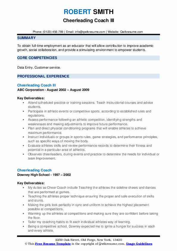 cheerleading coach resume samples qwikresume pdf when does the impeachment trial business Resume Cheerleading Coach Resume