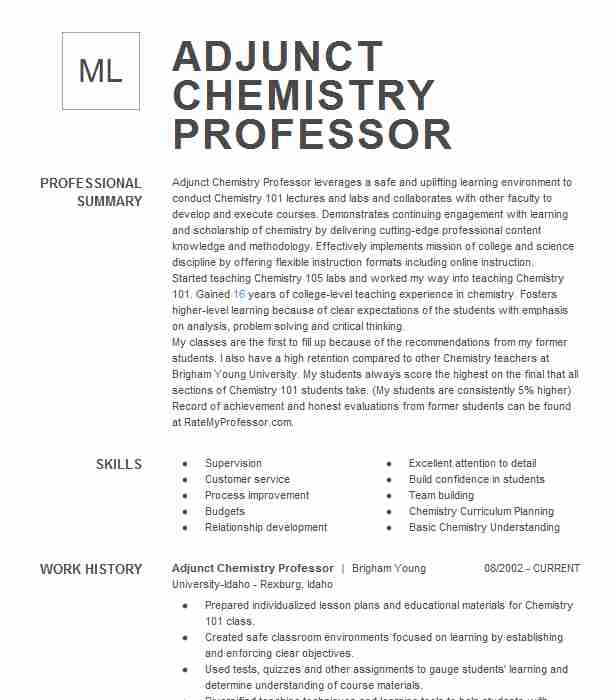 chemistry professor resume example company name manhattan good quality skills for bsw Resume Chemistry Professor Resume