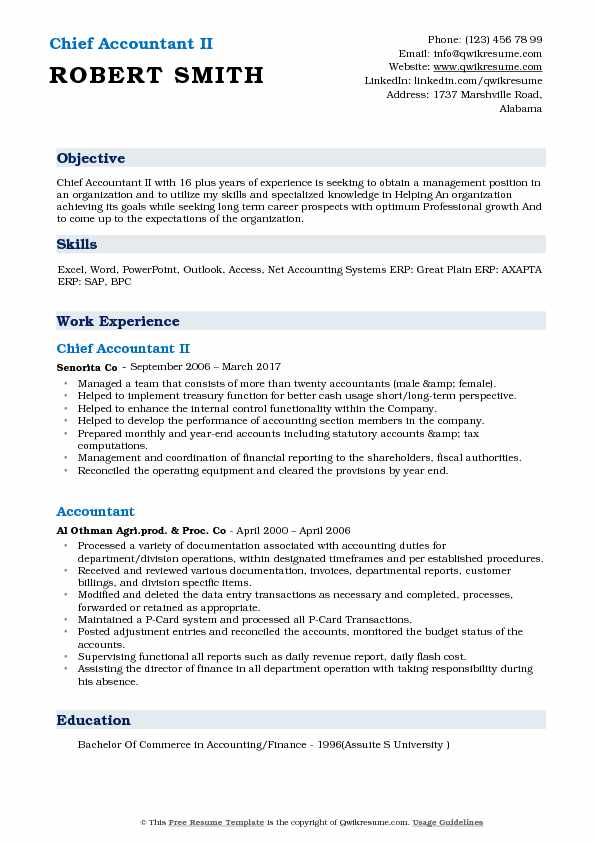 chief accountant resume samples qwikresume accounting objective statements pdf Resume Accounting Resume Objective Statements