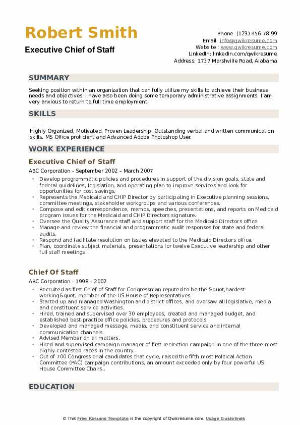 chief of staff resume samples qwikresume job pdf label format for freshers music industry Resume Chief Of Staff Job Resume