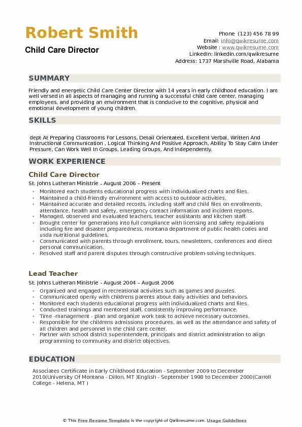 child care director resume samples qwikresume cover letter pdf executive summary example Resume Child Care Director Resume Cover Letter