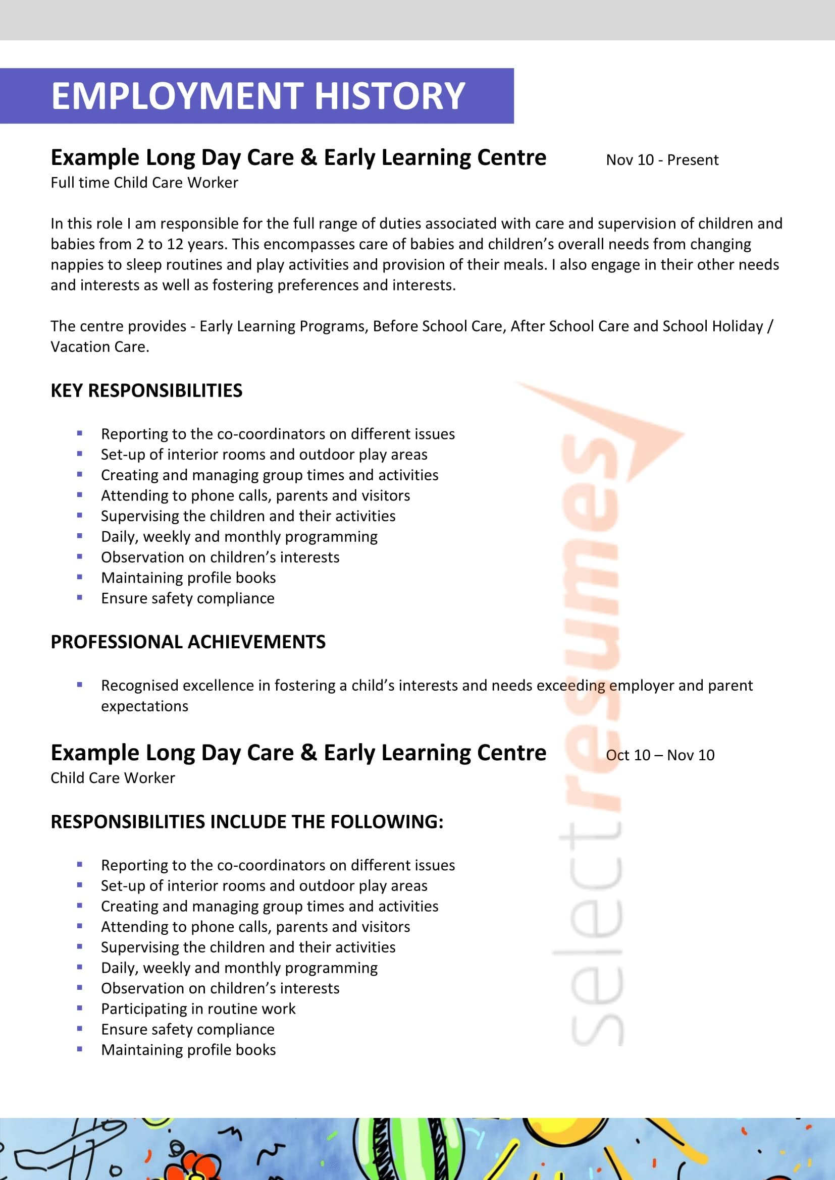 child care teacher design select resumes daycare worker resume duties privatised standard Resume Example Of A Child Care Resume