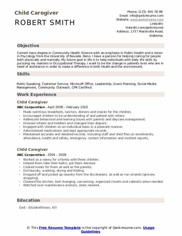 child caregiver resume samples qwikresume example of care pdf with research experience Resume Example Of A Child Care Resume