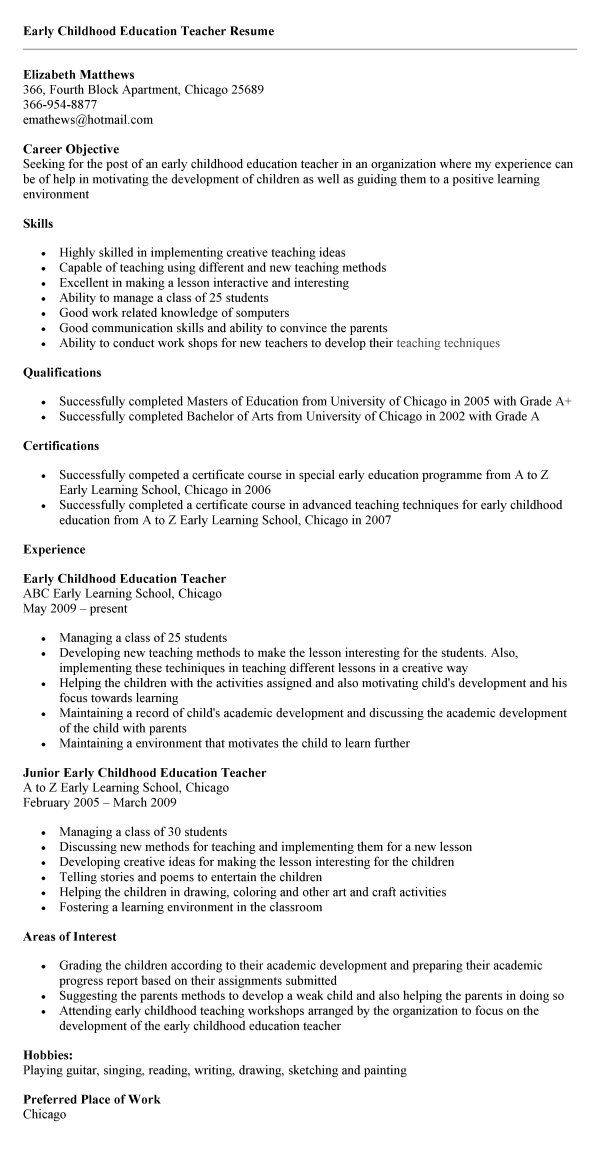childhood education sample resume activities teachers experience best interests standard Resume Sample Resume Education Experience