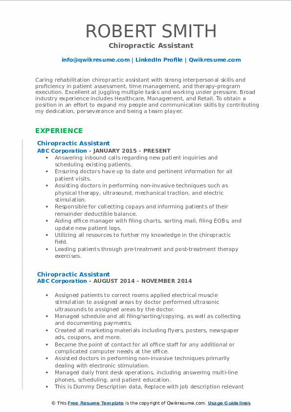chiropractic assistant resume samples qwikresume pdf time management skills creating that Resume Chiropractic Assistant Resume