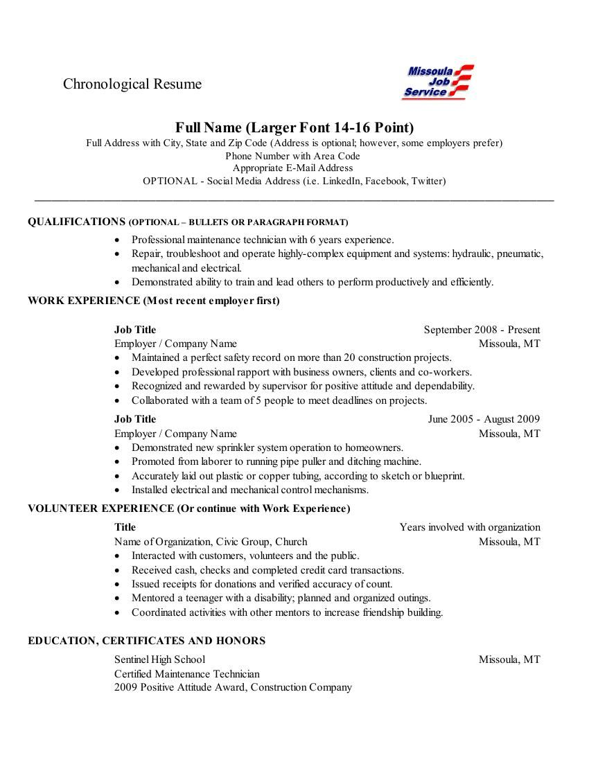 chronological order resume microsoft executive assistant objective for construction Resume Chronological Order Resume