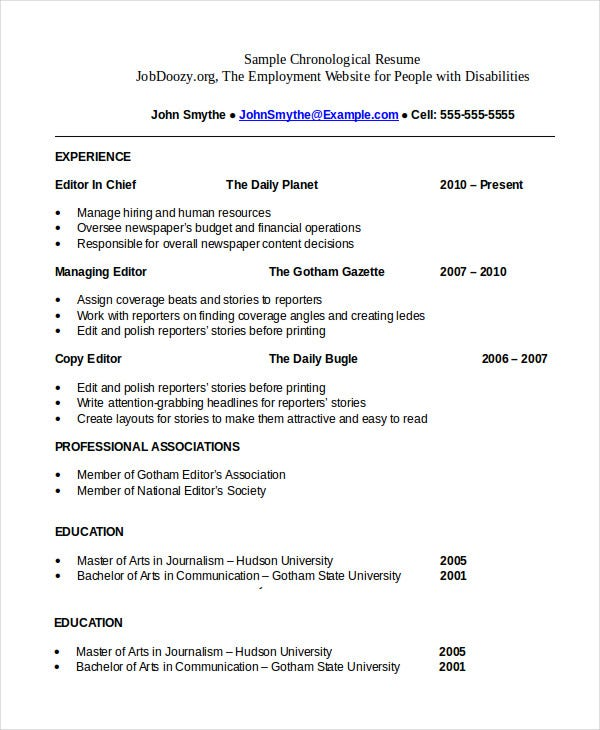 chronological resume template free word pdf documents premium templates order format Resume Chronological Order Resume Format
