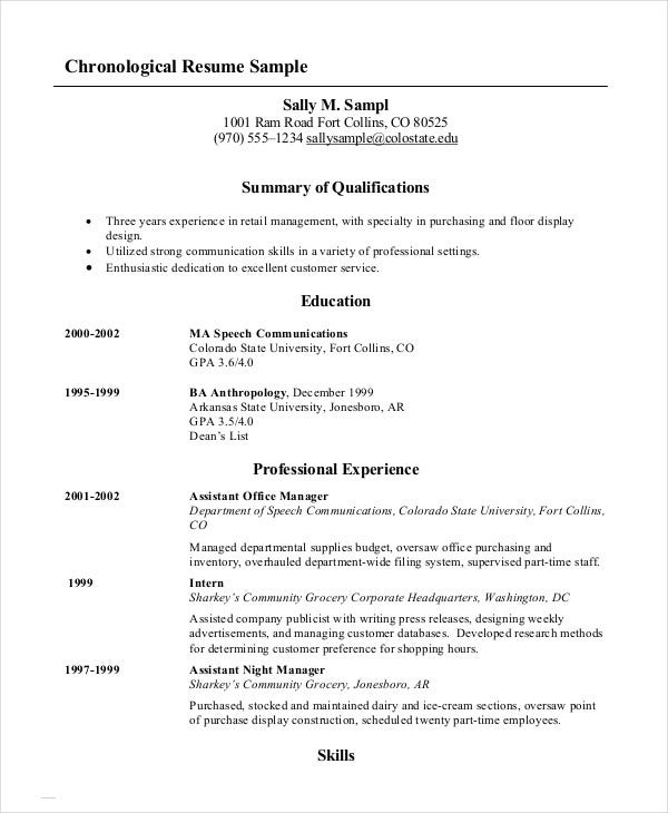 chronological resume templates pdf free premium order objective for construction examples Resume Chronological Order Resume