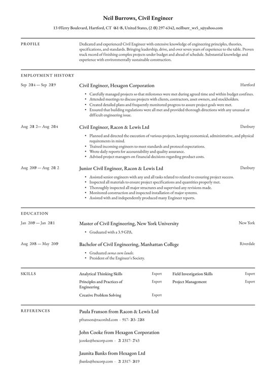 civil engineer resume examples writing tips free guide engineering distribution high Resume Civil Engineering Resume Examples
