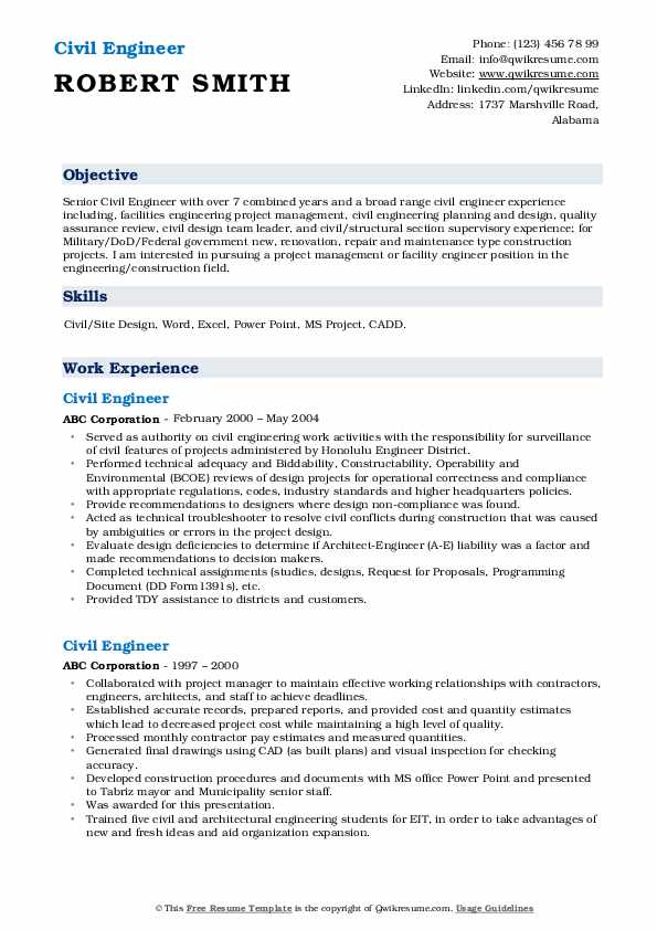 civil engineer resume samples qwikresume template pdf summary examples for high school Resume Civil Engineer Resume Template Download