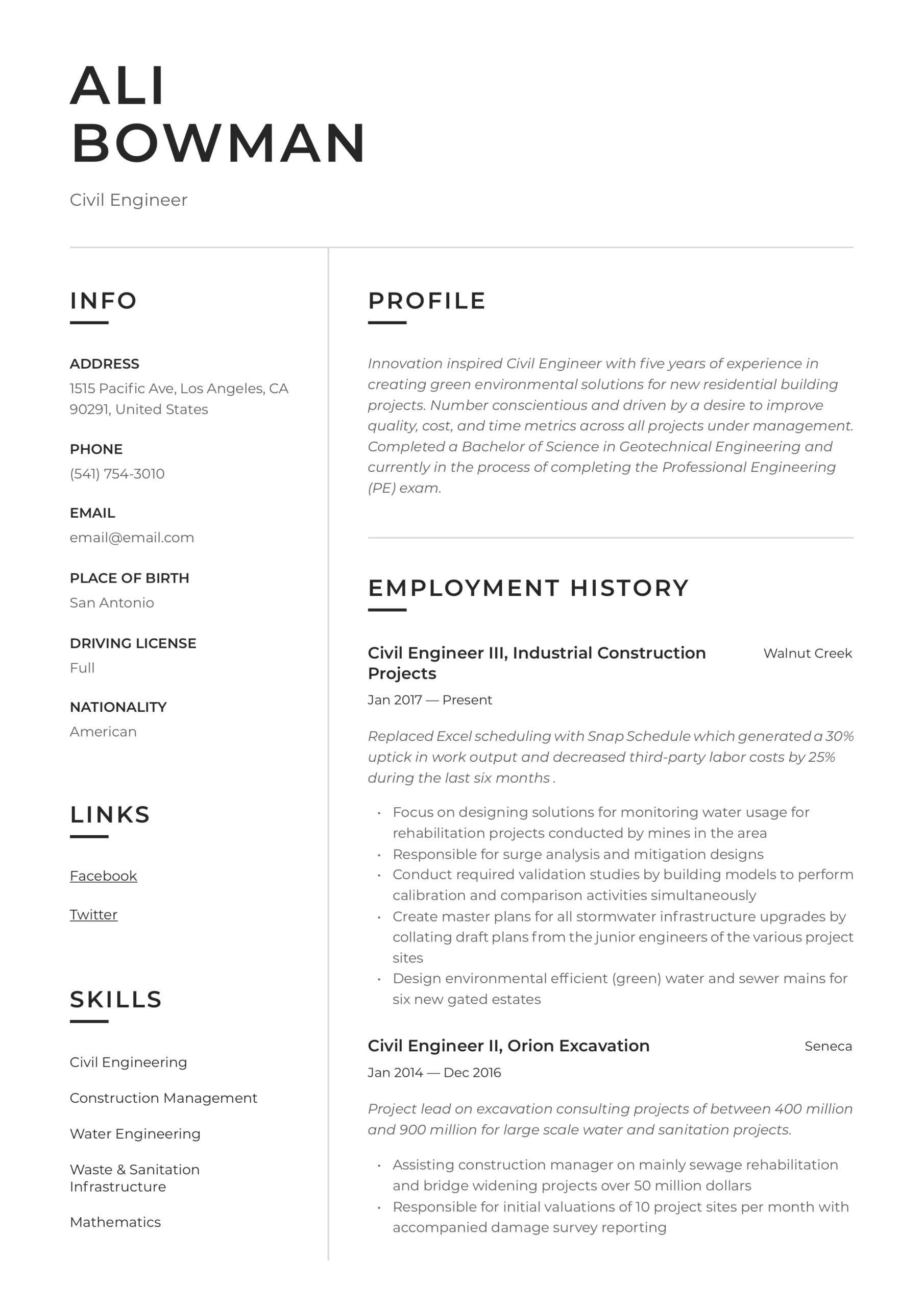 civil engineer resume writing guide templates sample leather portfolio case for chief of Resume Civil Engineer Resume Sample