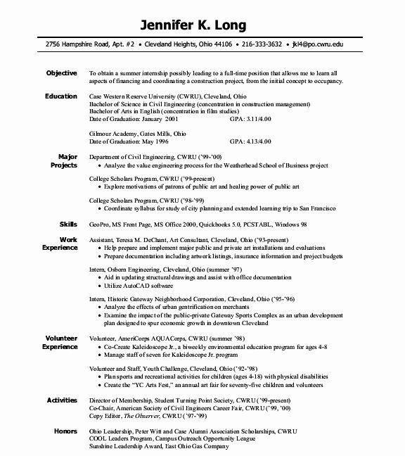 civil engineering intern resume best of pin by resumejob on job student template Resume College Student Resume For Internship