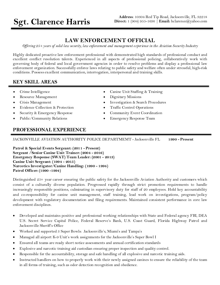 clarence resume professional law enforcement thumbnail beginner chef management writing Resume Professional Law Enforcement Resume
