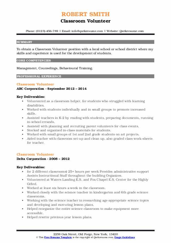 classroom volunteer resume samples qwikresume pdf for admissions counselor position free Resume Classroom Volunteer Resume