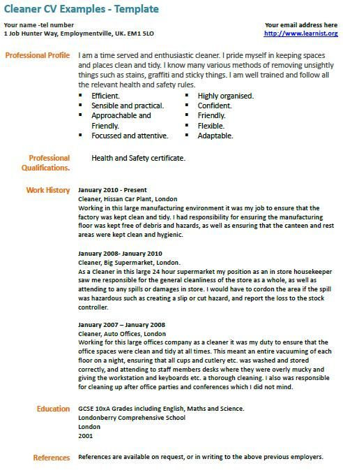 cleaner cv example learnist org examples resume free samples for cleaning job medical Resume Resume For Cleaning Job
